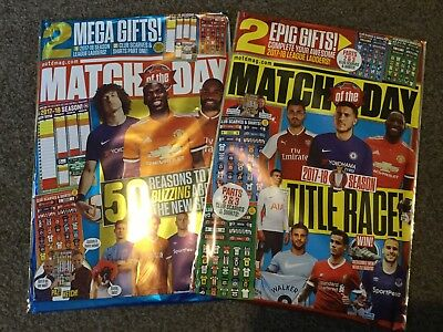 2 Match of the Day magazines with league ladders scarves shirts issues 466 & 467