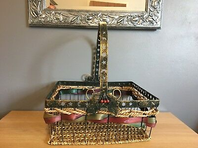 Vintage Metal and Wicker Christmas Basket with Handle