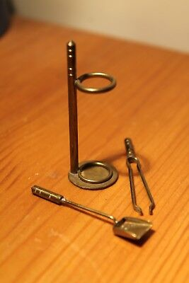 Dolls House Miniature Brass Fire Irons