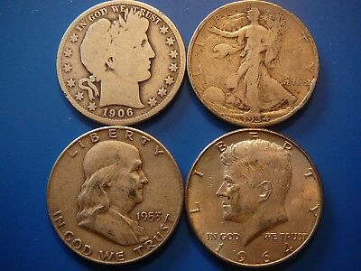 4 90% silver half dollars: Barber, Walking Liberty, Franklin, and Kennedy