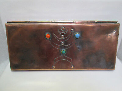 Yaad Israel 1960's Copper Box, Menorah Modernist Jeweled