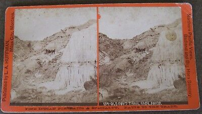 L.A. HUFFMAN STEREOVIEW #154 OLD GOVERNMENT TRAIL BADLANDS - Early MONTANA photo