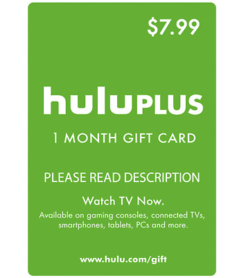 Hulu Plus Card 1 Month - Fast Delivery - Free Shipping