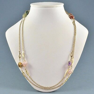 Vintage Necklace 1960s Caged Agate & Semi Precious Stones Goldtone Jewellery