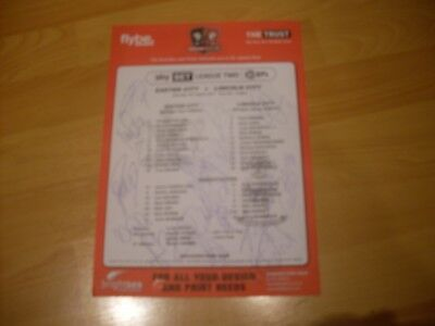 exeter ci v lincoln city team sheet signed by 18 lincoln players 2017/18 season
