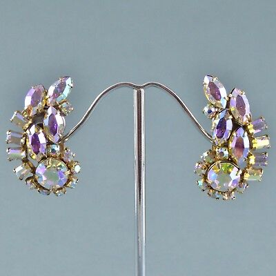 Vintage Earrings SHERMAN 1950s Aurora Borealis Crystal Goldtone Bridal Jewellery