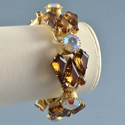 Vintage Bracelet JULIANA 1960s Amber Kite Cut Crystal Goldtone Bridal Jewellery