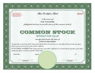 Blank download print corporation common stock share certificate PDF file
