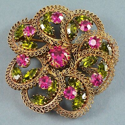 Vintage Brooch 1960s Fuchsia Pink & Green Crystal Goldtone Bridal Jewellery