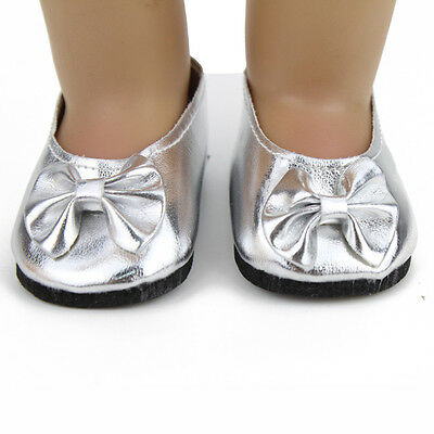 "Silver Bow Shoes  Fit 18""American Girl Doll Clothes New Reborn Baby Supplies"