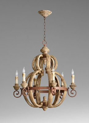 Old World French Country Chandelier 6 Light Wood & Metal
