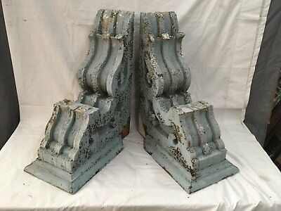Large Pair Antique Victorian Corbels Roof Brackets Vtg Gingerbread Chic 730-17E