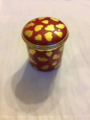 Halcyon Days Enamel Box Red With Gold Hearts