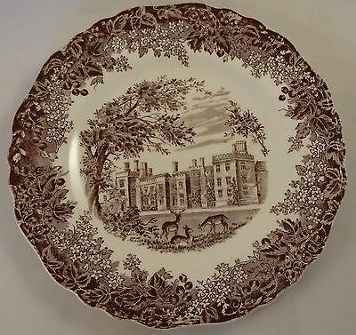 "J & G Meakin Romantic England Penshurst Place 7"" Side Cake Plate Brown VGC"