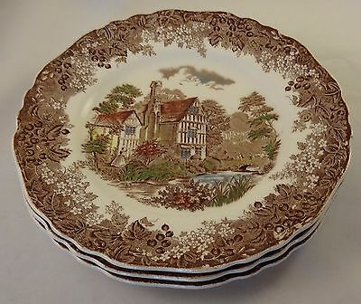 "3 J & G Meakin Romantic England Huddington Court 8"" Side Cake Plates Multicolour"