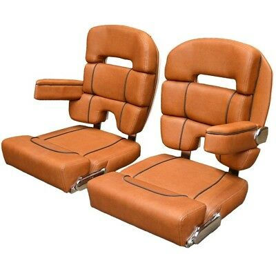 Scout Boats Bolster Captain Seat | 275 Dorado Brown Helm Chair (Set of 2)