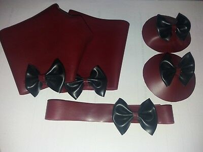 plum red and black latex rubber dress up set. glove mitts, pasties and collar