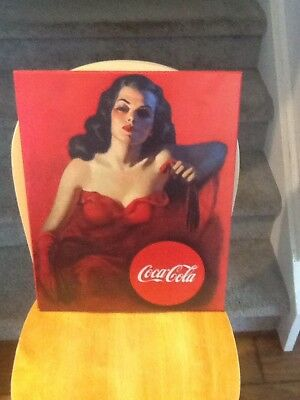 Coca Cola Lady In Red Wooden Sign Signboard Rita Hayworth? Advertising Art