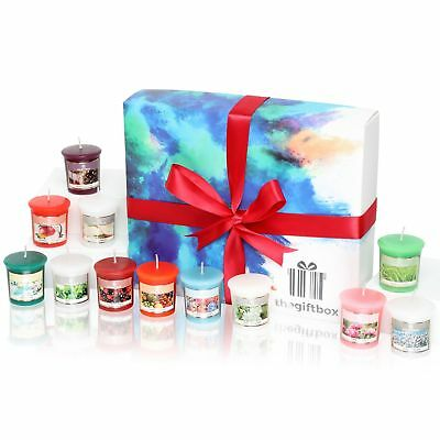 Premium Scented Luxury Gift Box Set of 12 Colourful Fragranced Aroma Candles