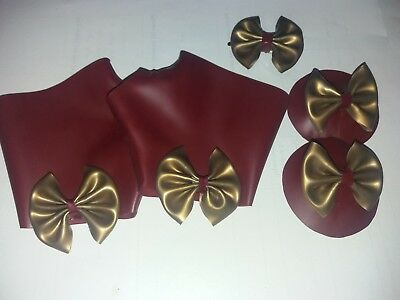 plum red and gold latex rubber dress up set. glove mitts, hair clip and pasties