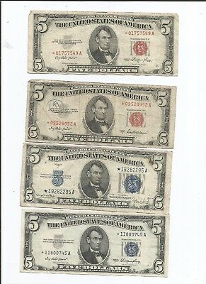Mixed Lot of $5 Star Notes Two Red Seals 1953 (A) Two Blue Seals 1934 D & 1953
