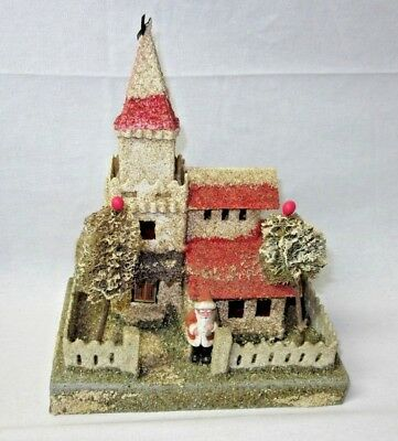 VTG Japan Cardboard Paper Christmas Village Putz House Church Coconut w/ Santa