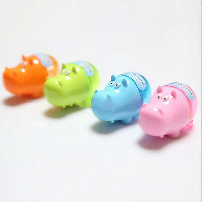 Stationery Hippo Pencil Sharpener with Two Rubbers Eraser Student Kids Cute EF