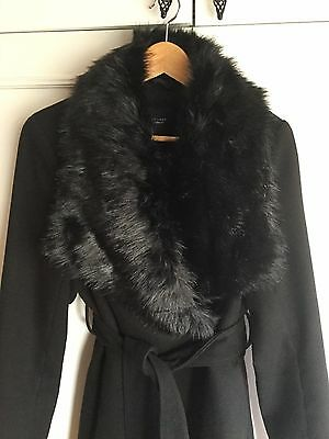 Black maternity winter coat with detachable fur collar - size 16. From New Look