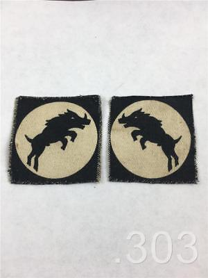 Pair c.WWII British Military XXX Corps Printed Cloth Formation Badges Patches