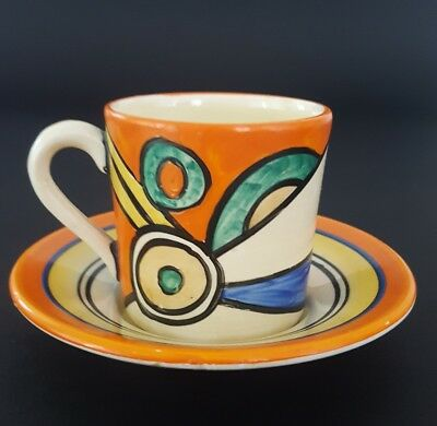 Clarice Cliff Sliced Circle Coffee Can And Saucer C. 1930