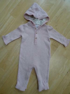 RALPH LAUREN girls pink hooded all in one romper suit AGE 3-6 MONTHS AUTHENTIC