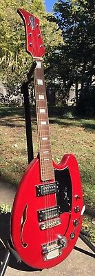 1968 Apollo (Teisco) May Queen Electric Guitar vintage with case pro re-fret