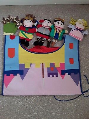 Childrens puppet theatre with 7 puppets hand and finger puppets
