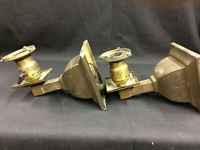 0198 Pair Antique Mission Arts And Crafts Style Brass Wall Sconces 1910