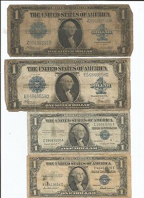Mixed Lot Four Silver Certificates Two 1923 Large and Two Small Size Notes