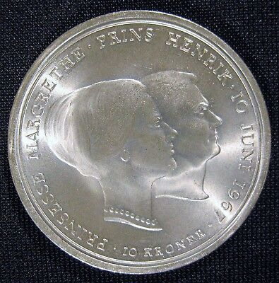 1967 Denmark Silver 10 Kroner - Commemorative - Choice BU - Free U S Shipping