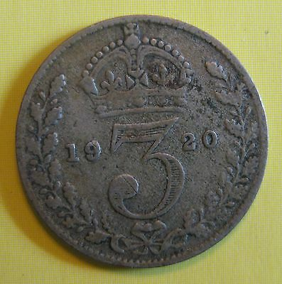 Great Britain 1920 3 Pence King George V .9250 SILVER