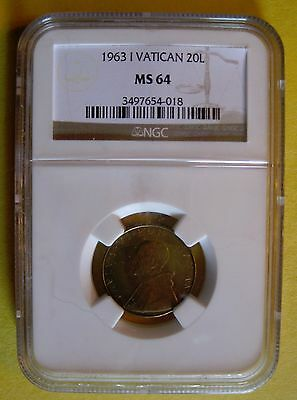 NGC Vatican I 1963 20 Lire MS-64 LOW LOW 90,000 Mintage KN# 80.1