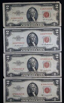 1953,A,B,C $2 Complete Series, (4) Notes, Red Seal, Circulated