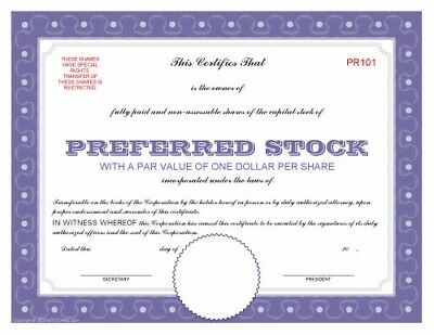 Blank download print corporation preferred stock share certificate PDF file
