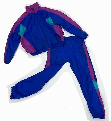 Vintage 80s 90s Rucanor Blue Green Purple Shell Suit 10 12 Fresh Prince