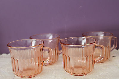 Set Of 4 Fortecrisa Pink Depression Glass Coffee Mugs - Made In Mexico