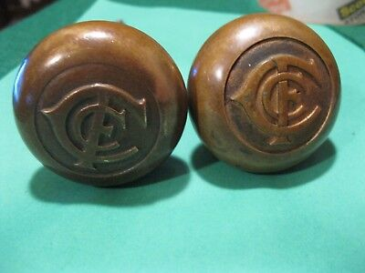 Old 1910+ Charles Francis Colcord Hotel Building Oklahoma City brass doorknobs