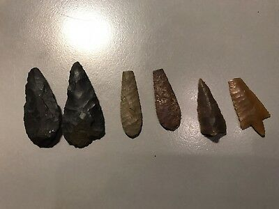 6 Bronze Age Neolithic Pre historic tools slug knives arrow head flint