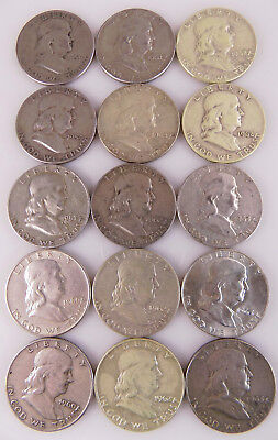 Lot Of 15 Franklin Silver Half Dollars Free S/h #4111