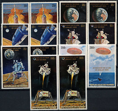 Guinea 1969 SG#700-6, 1st Man On The Moon MNH PAirs Set French + English #D58836