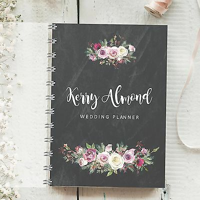 Personalised Wedding Planner Chalkboard Frosted Rose, 4 year diary, Journal Gift