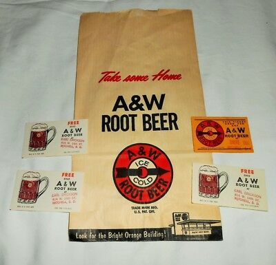 Vintage A&W Root Beer Advertising Paper Bag+4 Coupons For Free Mugs of Root Beer