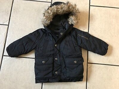 Baby Boys Thick Black Padded Gap Hooded Winter Coat - Age 12-18 Months