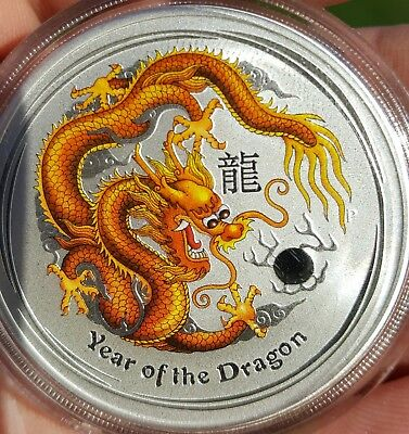 2012 AUSTRALIAN YEAR OF THE DRAGON - COLORIZED 1 OZ .999 SILVER Perth Mint